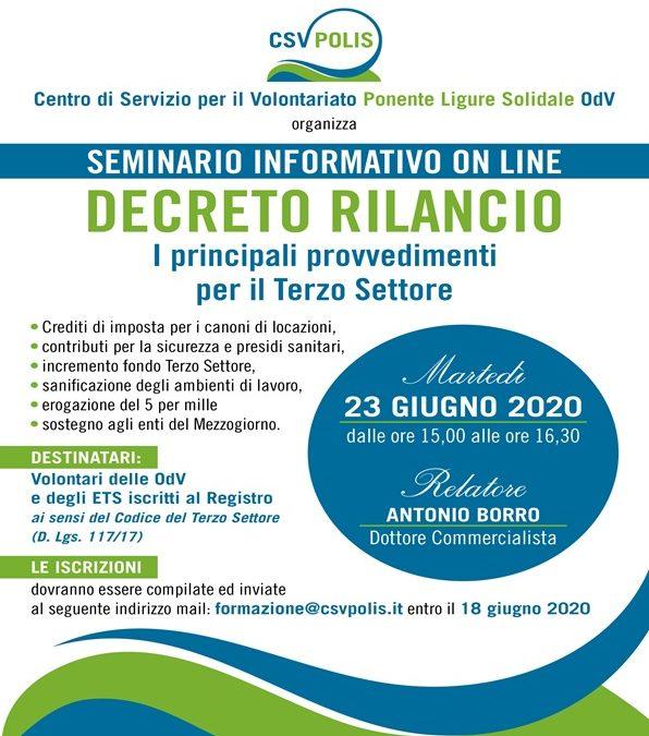 """CSV POLIS: LA REGISTRAZIONE DEL PRIMO SEMINARIO ON LINE SUL """"DECRETO RILANCIO"""""""
